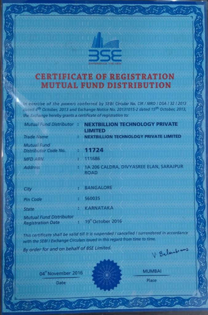 Certificate of Registration for Mutual Funds Distribution