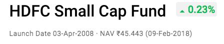 hdfc small cap fund nav