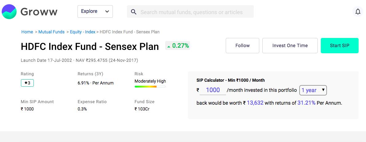 index funds hdfc sensex