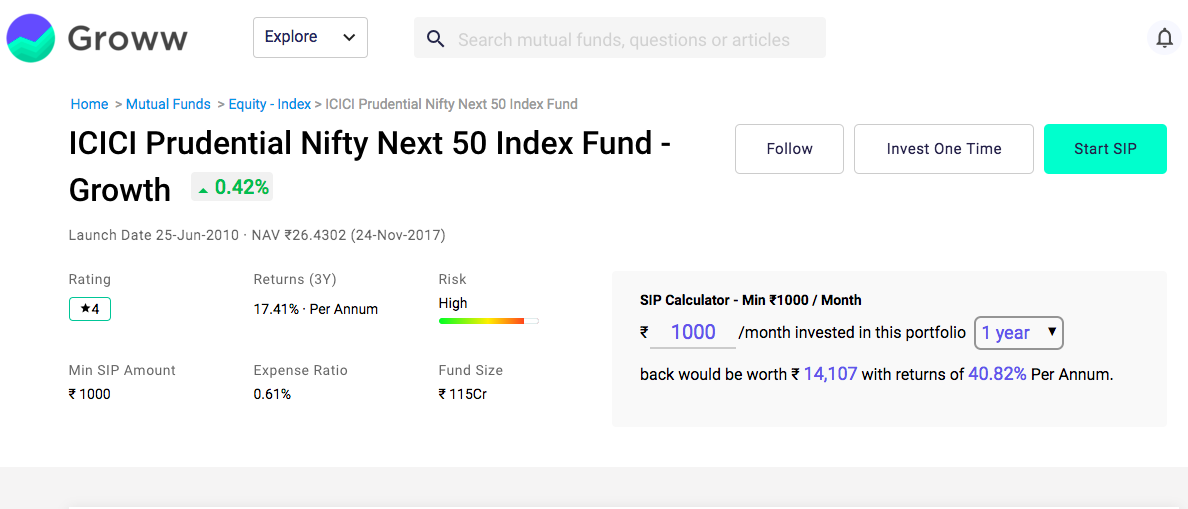 index fund icici prudential nifty