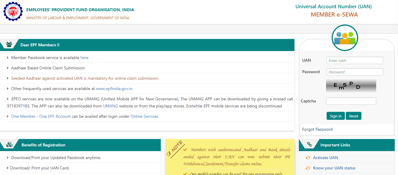 UAN Member e-Sewa Portal