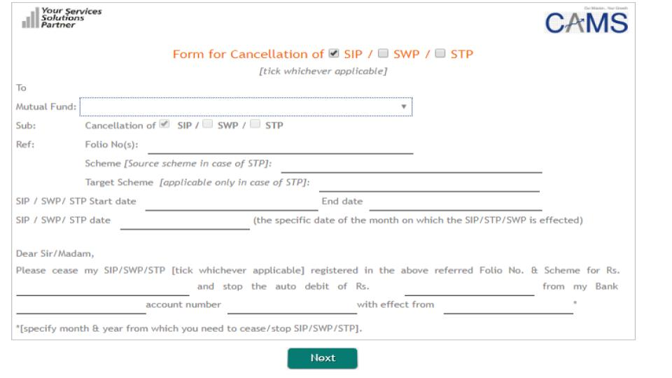 SIP cancellation form step 3