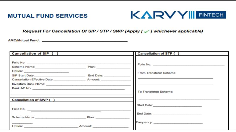 sip cancellation form karvy