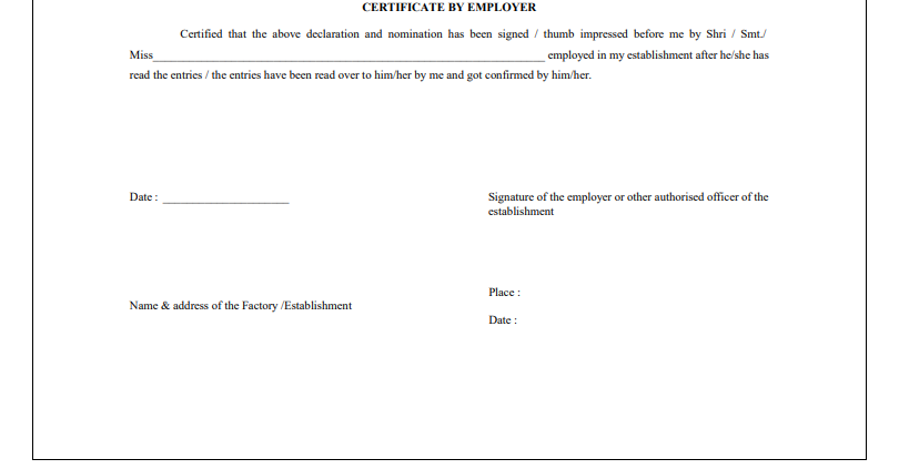 EPF Form 2 - Certified by Employer