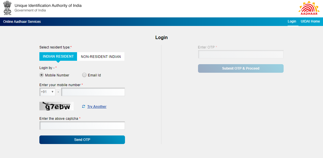 Aadhar-Mobile Linking Application form Step-1