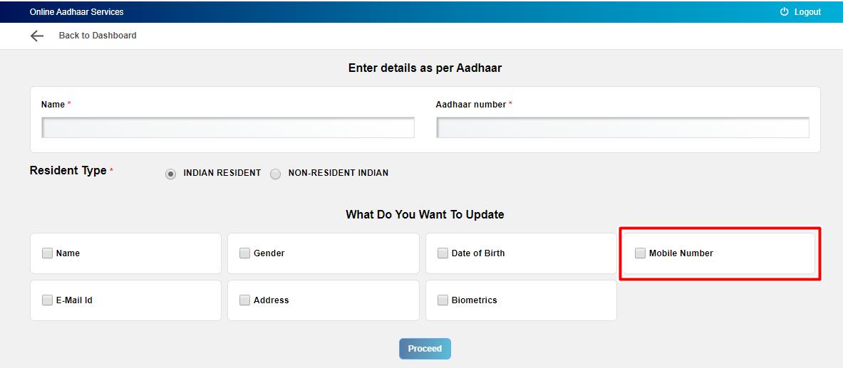 Update mobile number in aadhaar online