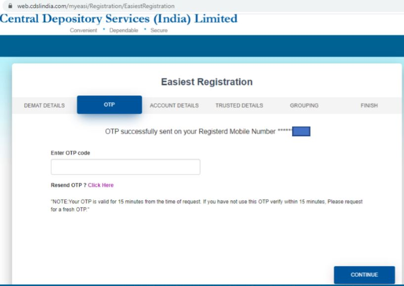 CDSL OTP Registration