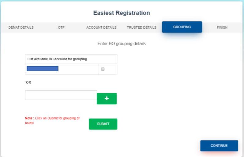 CDSL Enter BO Grouping Details