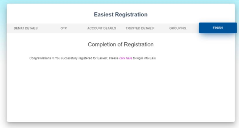 CDSL Registration Completion
