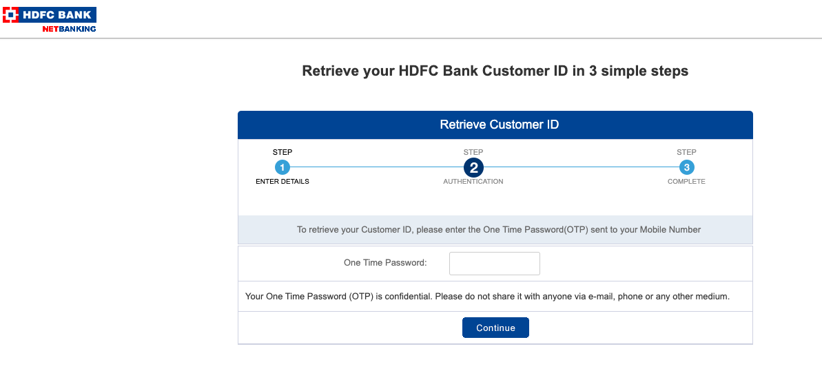 hdfc customer id forgot