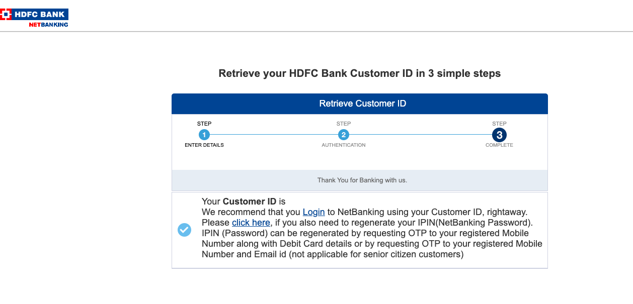 hdfc customer id password forgot
