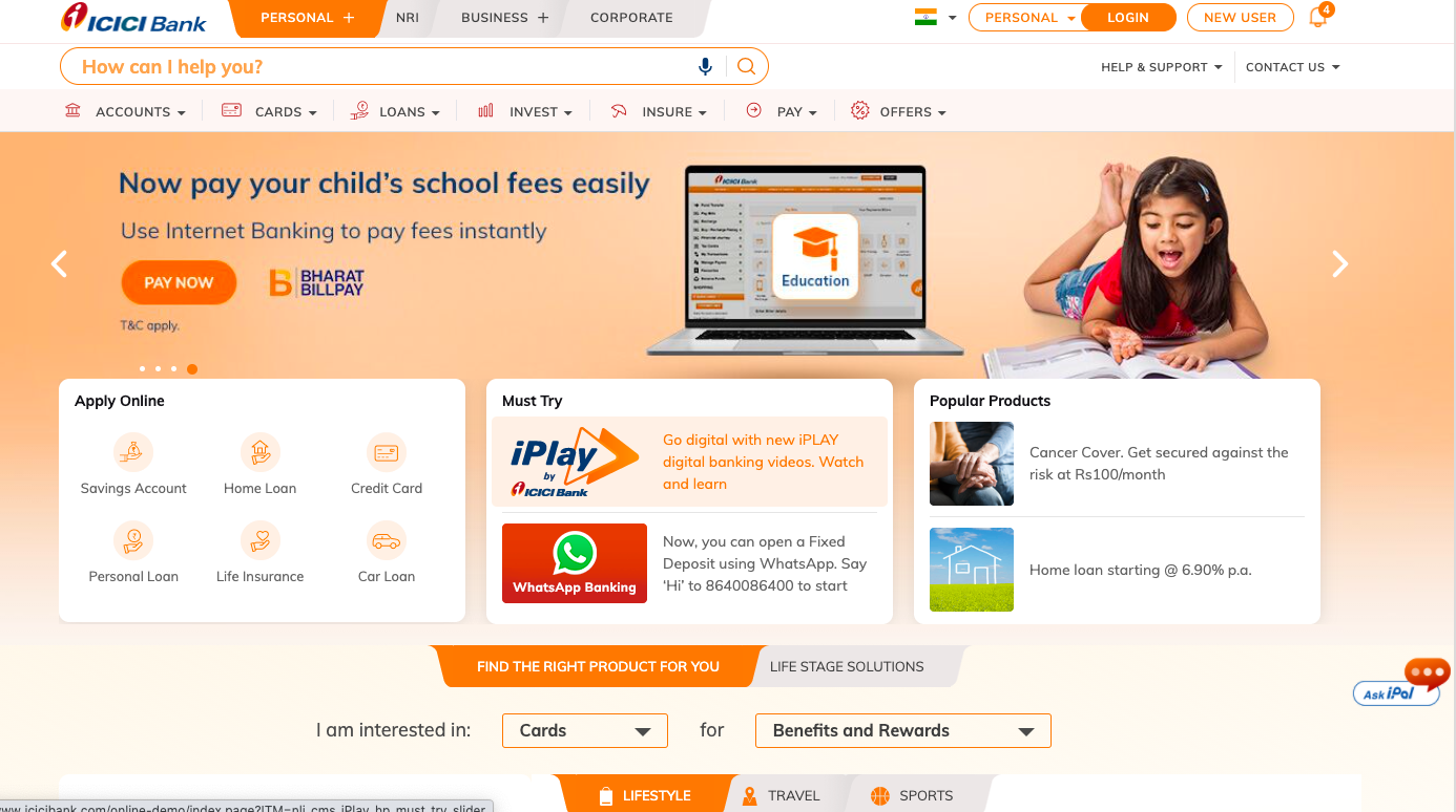 icici official website