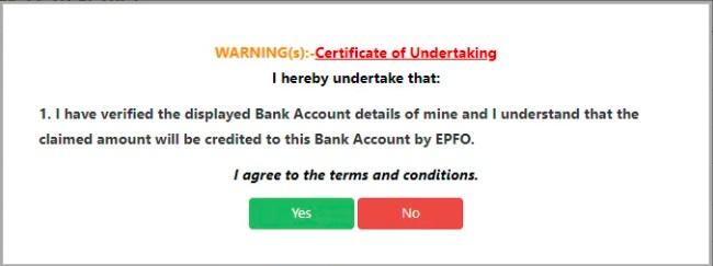 EPF Claim online certificate